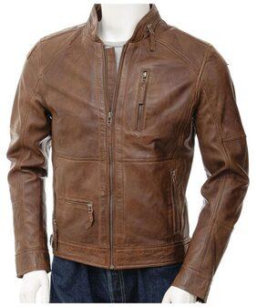 Bag Jack Men Leather Slim Jacket - Brown