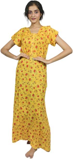 Balaji Cotton House Women's Pure Cotton Yellow Color Printed Nightgown