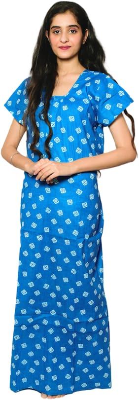 Balaji Cotton House Women's Cotton Printed Sky Blue Color Nightgown