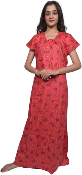 Balaji cotton house Red Night Gown