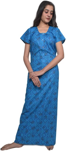 Balaji cotton house Blue Night Gown