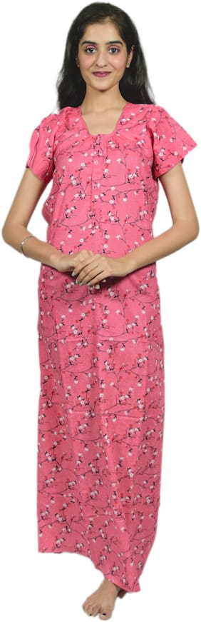 Balaji Cotton House Women's Pure Cotton Red Color Printed Nightgown