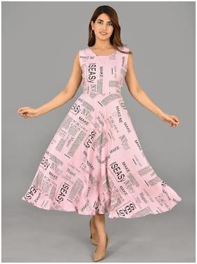 Balaji Cotton House Women's Round Neck American Crepe Fabric Western Dress
