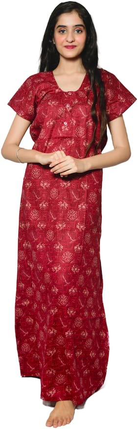 Balaji Cotton House Women's Cotton Printed red color nightgown