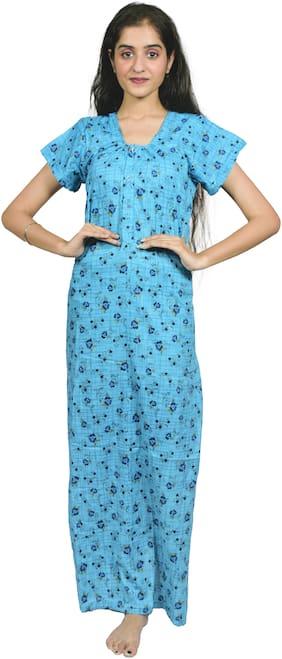 Balaji Cotton House Women's Pure Cotton Blue Color Printed Nightgown