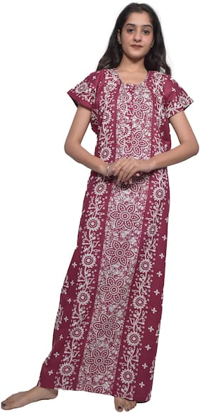 Balaji cotton house Maroon Night Gown