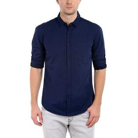 Balino London Slim Fit Plain Navy Blue Casual Cotton Shirt