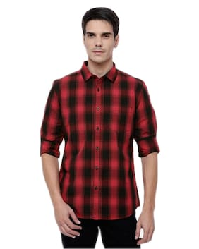 BALINO LONDON Men Slim Fit Casual shirt - Red