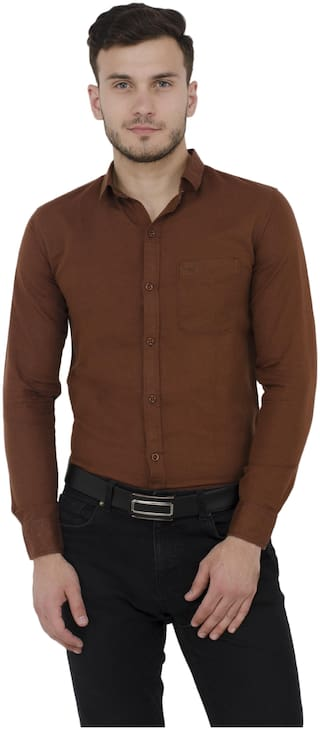baluchi Men Regular Fit Formal Shirt - Brown