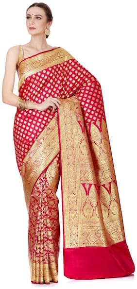 Banarasi Silk Works Solid Zari Silk Saree with Embroidered Blouse
