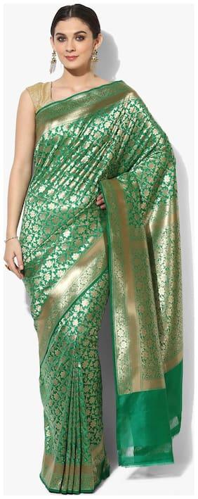 Banarasi Silk Works Women's Saree With blouse piece(Green)
