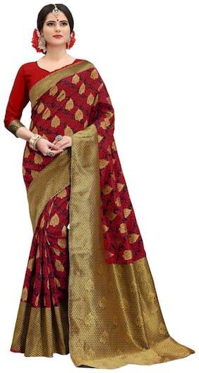 Rahi fashion Silk Banarasi Zari work Saree - Red , With blouse