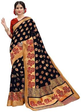 Rahi fashion Silk Banarasi Zari work Saree - Black , With blouse