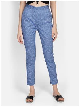 Bani Women Cotton Slim Fit Printed Cigarette Pant For Women (Blue)