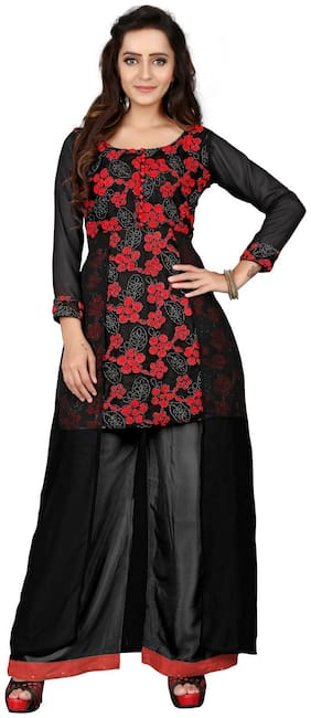 BanoRani Black & Red Color Georgette Embroidery Floral Net UnStitched Dress Material (BR-2090)