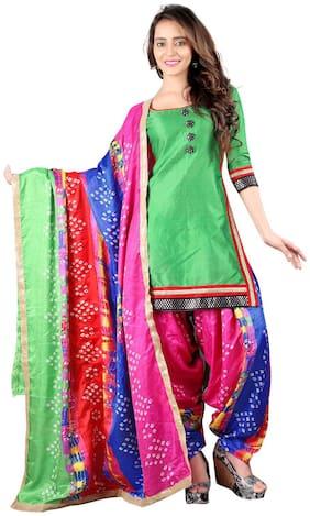BanoRani Green Color Banarasi Silk with Bandhani Print & Zari Work Unstitched Dress Material (Patiala)