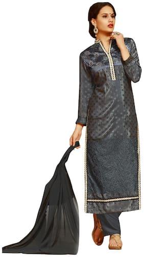 BanoRani Grey Silk Semi Stitched Suit
