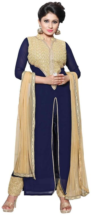BanoRani Navy Blue Color Faux Geogette & Chicken Embroidery UnStitched Dress Material (Pant Style)