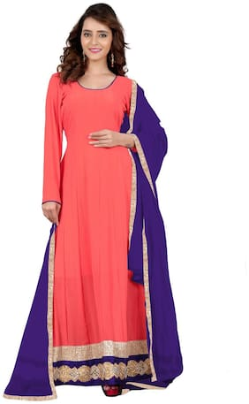 BanoRani Peach Color Faux Georgette Full length Anarkali With Zari & Lace Work Unstitched Salwar Suit Dress Material