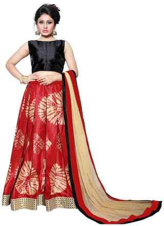 1076d3809a Buy BanoRani Silk Geometric Flared Lehenga Choli - Red Online at Low ...