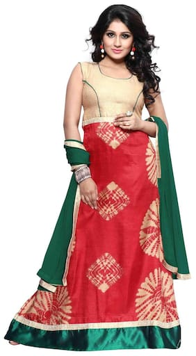 BanoRani Red & Green Color Red Batik Print Designer UnStitched Gown with Dupatta