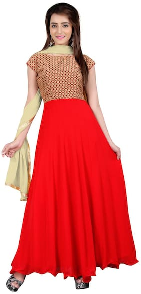 BanoRani Red & Beige Color Faux Georgette & Jacquard Anarkali Self Design With Lace Work Unstitched Salwar Suit Dress Material