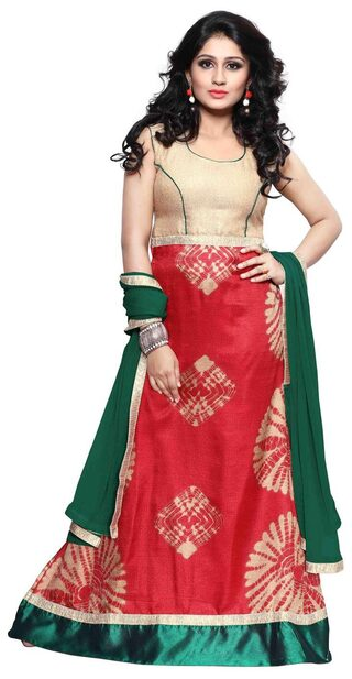 BanoRani Red & Green Color Red Bhagalpuri Silk Batik Print UnStitched Gown with Dupatta