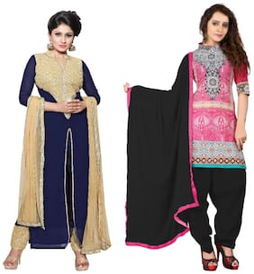 BanoRani Womens Designer Faux Georgette & Cotton MultiColor Combo of 2 Free Size UnStitched Dress Material (BR-1746_2133)