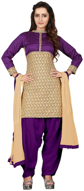 BanoRani Womens Faux Georgette Patiala UnStitched Dress Material (Purple & Beige_Free Size_BR-2113)