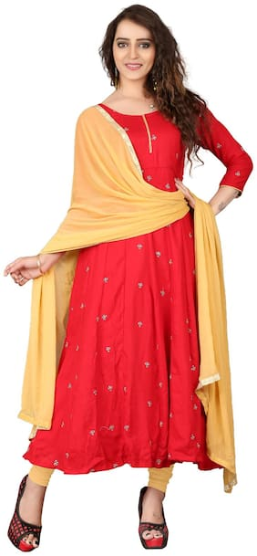 BanoRani Womens Red & Beige Color Cotton Embroidered Designer Anarkali Dress Material (Free Size;BR-2145)