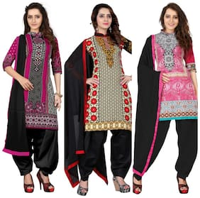 BanoRani Womens Cotton & PolyCotton Printed MultiColor Free Size Combo of 3 UnStitched Dress Material