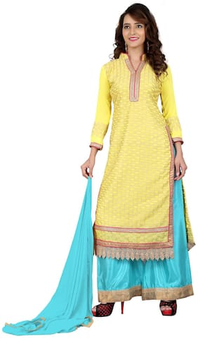 BanoRani Yellow & Sky Blue Color Faux Georgette Straight Fit With Chicken Embroidery, Zari & Lace Work Unstitched Salwar Suit Dress Material(Plazzo)