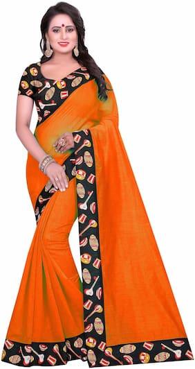 Bansidhar Fabrics Cotton Universal Lace Work Saree - Orange