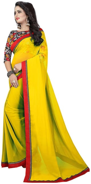 Bansidhar Fabrics Georgette Saree With Cotton Printed Blouse
