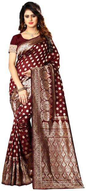 Bansidhar Maroon Woven Banarasi Regular Saree With Blouse , With blouse