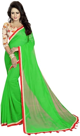Bansidhar Fabrics Cotton Party Wear Saree With Printed Cotton Blouse