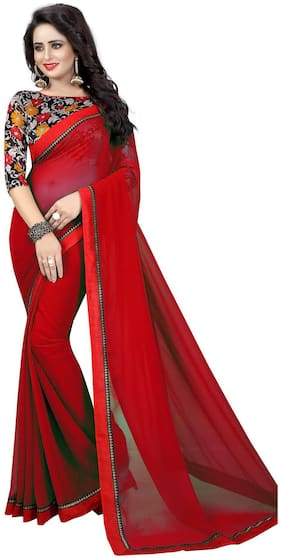 Bansidhar Red Georgette Saree With Cotton Printed Blouse
