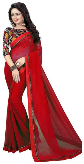 Bansidhar Fabrics Georgette Universal Lace work Saree - Red