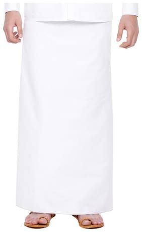 Barakath Cotton Solid Mundu Dhoti - White