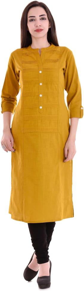 Barari Women Cotton Solid Straight Kurta - Yellow