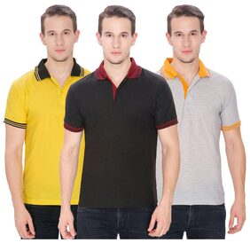 Baremoda Solid Men's Polo Neck Yellow, Grey, Black T-Shirt  (Pack of 3)