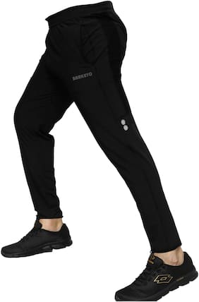 Barkeyo Men Polyester Track Pants - Black & Blue