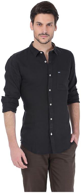 BASICS Men Black Solid Slim Fit Casual Shirt