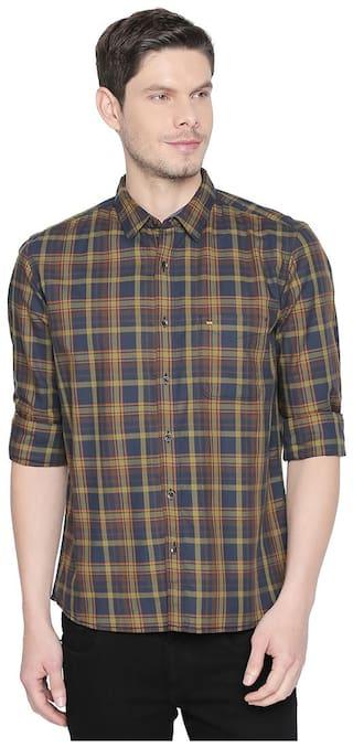 BASICS Men Green Checked Slim Fit Casual Shirt