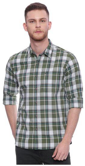 BASICS CASUAL CHECKED GREEN 100% COTTON SLIM SHIRT