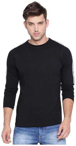 BASICS Casual Plain Black Cotton Modal Muscle T.Shirt