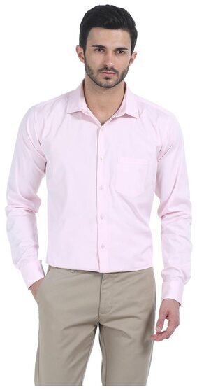 Basics CASUAL PLAIN PINK 100% COTTON SLIM SHIRT