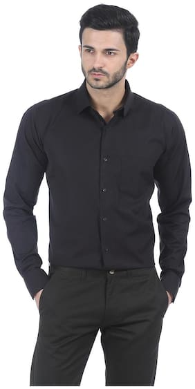 Basics CASUAL PLAIN BLACK 100% COTTON SLIM SHIRT