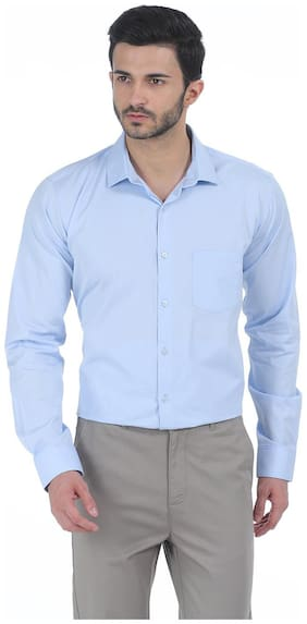 Basics CASUAL PLAIN BLUE 100% COTTON SLIM SHIRT