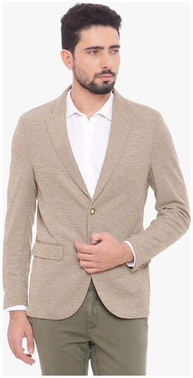 BASICS CASUAL SELF MID BROWN TERRY RAYON ELASTANE COMFORT BLAZER